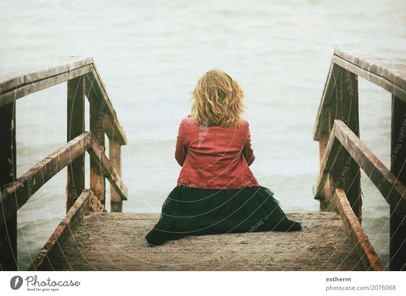 Pensive woman looked at the sea Human being Woman Vacation & Travel Youth (Young adults) Young woman Summer Beautiful Ocean Relaxation Loneliness Joy Beach Adults Lifestyle Sadness Spring