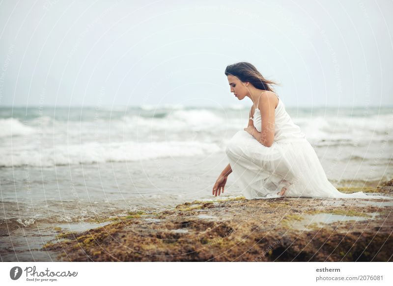 Pensive woman on the beach Human being Woman Vacation & Travel Youth (Young adults) Young woman Summer Beautiful Loneliness Beach 18 - 30 years Adults Lifestyle Sadness Spring Emotions Healthy