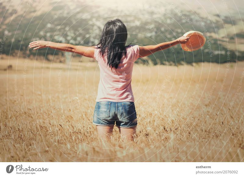 Woman in the wheat field Lifestyle Joy Wellness Vacation & Travel Trip Adventure Freedom Summer Summer vacation Human being Feminine Young woman