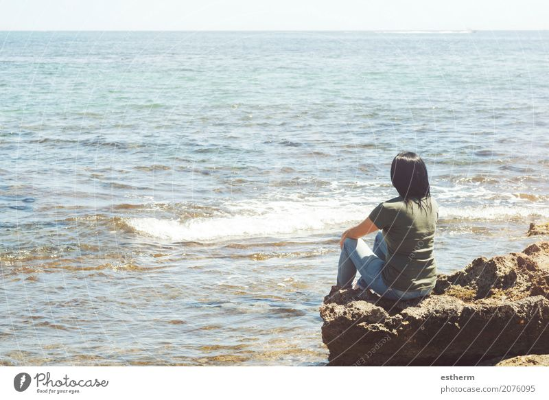 Pensive woman looking at the sea Human being Woman Vacation & Travel Youth (Young adults) Young woman Summer Ocean Relaxation Loneliness Joy Beach Adults Lifestyle Sadness Spring Emotions