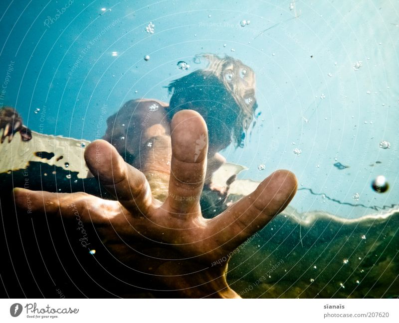 Human being Vacation & Travel Man Water Summer Hand Adults Life Style Swimming & Bathing Dream Masculine Lifestyle Threat Fingers Help