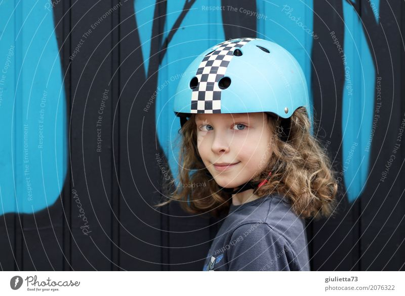 Cool boy with long hair and skateboard helmet Leisure and hobbies Playing Sports Inline skating Child Boy (child) Infancy Life 1 Human being 8 - 13 years Helmet