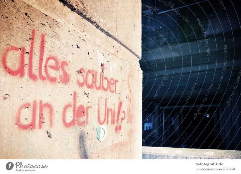 Blue Red Colour Wall (building) Architecture Graffiti Gray Wall (barrier) Building Facade Concrete Academic studies Perspective Characters Future Communicate