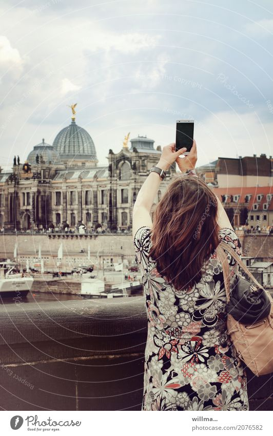 brunette woman photographs the historical old town of dresden with smartphone Vacation & Travel Tourism Trip Sightseeing City trip Cellphone PDA Human being