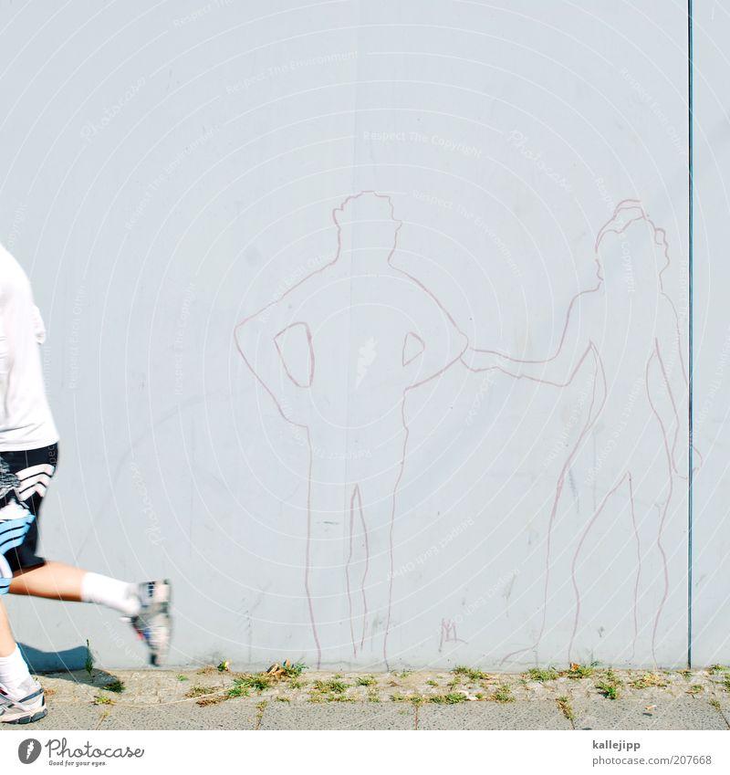 Woman Human being Man Adults Feminine Life Sports Graffiti Gray Wall (barrier) Couple Walking Masculine Fitness Partner Divide