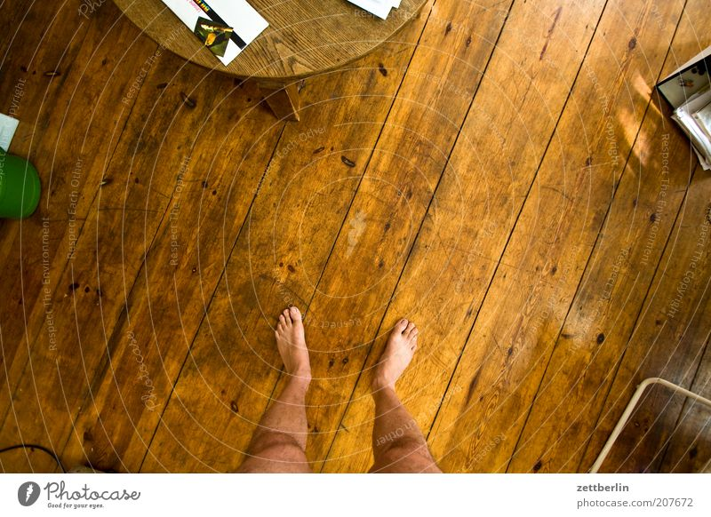 In the circle of my loved ones Feet Stand Room Ground Floor covering Wood Wooden floor Floorboards Table Seam Structures and shapes Clear Bird's-eye view