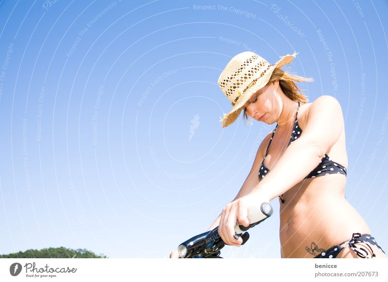 Phew, now there can be no Woman Bicycle Summer Bikini Athletic Exhaustion Hat Sunhat Fatigue Warmth heat wave Thin Attractive Sky Blue Stand Break Make Blue sky