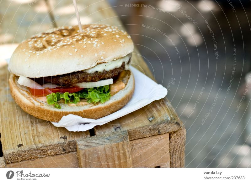 Nutrition Wood Food Large Table Fat Appetite Meat Tomato Roll Lettuce Fast food Hamburger Snack Vice