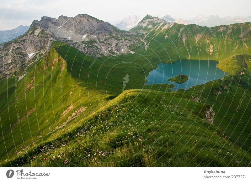 Schrecksee Freedom Summer Mountain Landscape Water Grass Meadow Alps Peak Lake Infinity Tall Above Beautiful Blue Green Calm Loneliness Nature Vacation & Travel