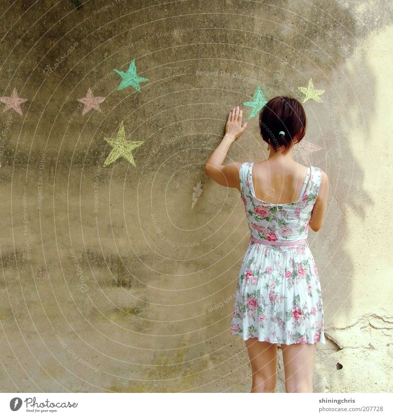 paint stars. Leisure and hobbies Feminine Young woman Youth (Young adults) 1 Human being 18 - 30 years Adults Art Summer Fashion Dress Sign Star (Symbol) Touch