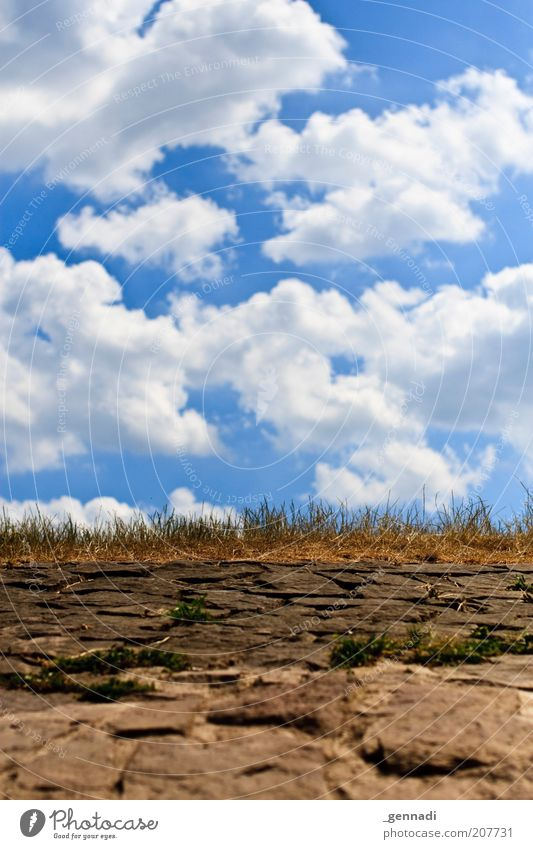 Sky Summer Clouds Grass Stone Lanes & trails Warmth Heaven Environment Dry Beautiful weather Blue sky Drought Sky blue Traffic infrastructure Nature