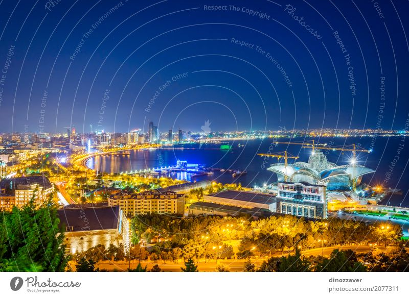 View over Baku at night, Azerbaijan Vacation & Travel Summer Town Landscape Ocean Architecture Street Building Tourism Modern High-rise Vantage point Skyline