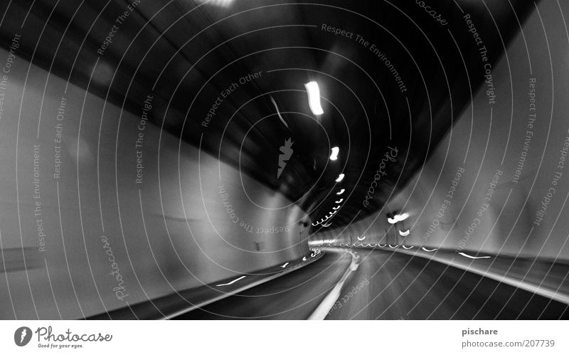 chase the light Tunnel Transport Traffic infrastructure Road traffic Motoring Street Dark Speed Emotions Fear Claustrophobia Narrow Threat Black & white photo