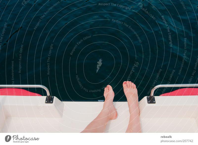 Woman Water Vacation & Travel Sun Summer Calm Relaxation Feminine Freedom Lake Feet Leisure and hobbies Lie Wellness Cosmetics Summer vacation