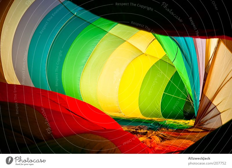 colorflash Balloon flight Hot Air Balloon Large Multicoloured Colour photo Interior shot Prismatic colors Sheath Concentric Bright Colours Preparation