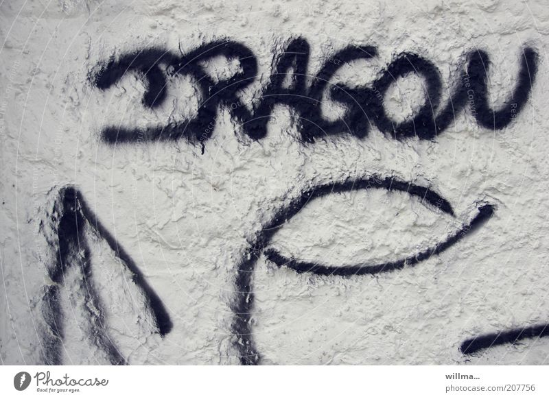 dragon Sign Characters Graffiti Wall (barrier) Wall (building) Facade Black White Word Text Dragon Plaster Scribbles Daub Exterior shot Structures and shapes