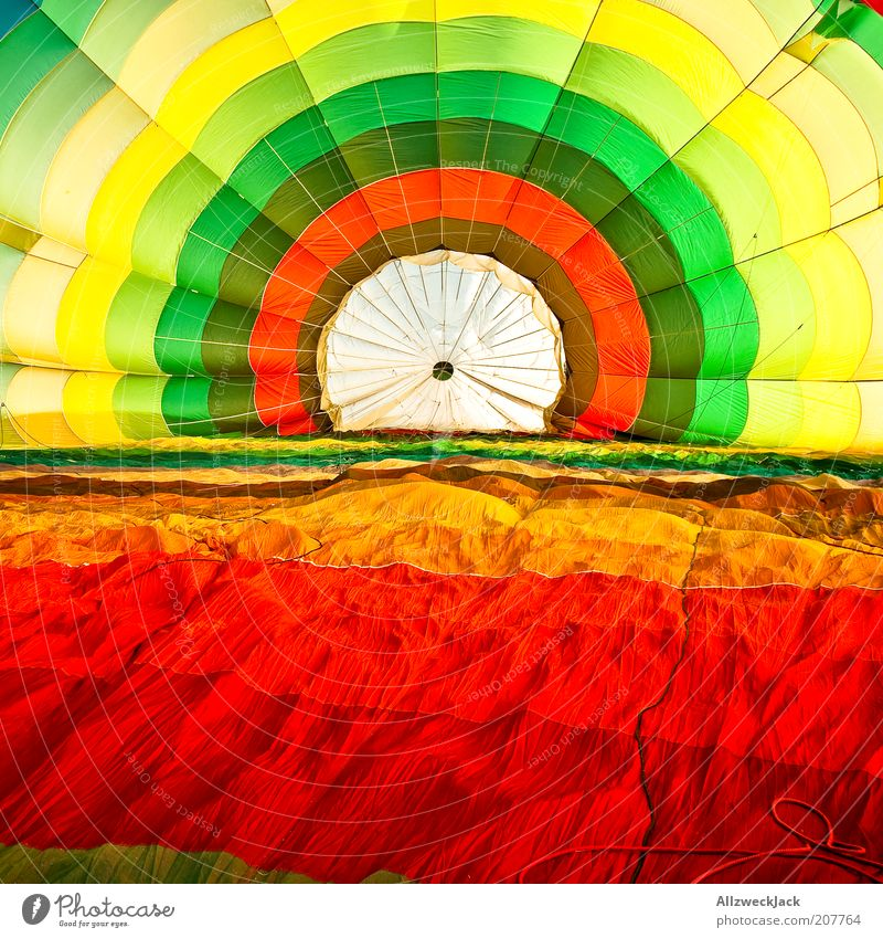 colour rosette Style Summer Hot Air Balloon Multicoloured Cloth Balloon flight Colour photo Long shot Bright Colours Interior shot Circle Concentric Inflatable