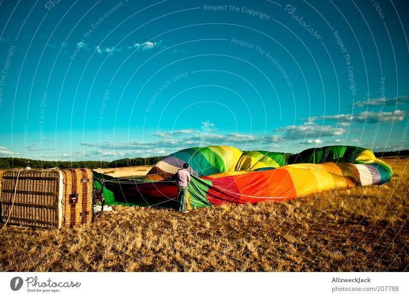 Human being Summer Field Masculine Trip Adventure Beautiful weather Hot Air Balloon Blow Events Basket Blue sky Arrange Preparation Multicoloured Balloon flight