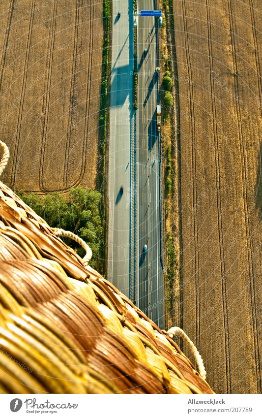 Above Field Road traffic Flying Tall Aviation Adventure Driving Highway Hot Air Balloon Traffic infrastructure Vehicle Basket Height Means of transport