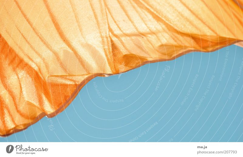 Blue Sun Summer Air Orange Safety Cloth Beautiful weather Protection Sunshade Cloudless sky Partially visible Weather protection UV radiation Multicoloured