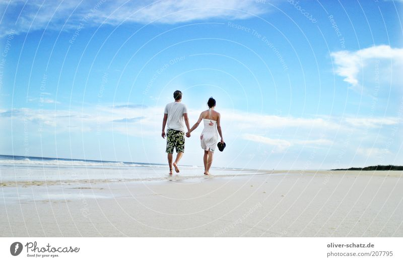 beach walk Vacation & Travel Trip Adventure Far-off places Freedom Summer Summer vacation Beach Ocean 2 Human being Bay Island Discover Walking Infinity Blue