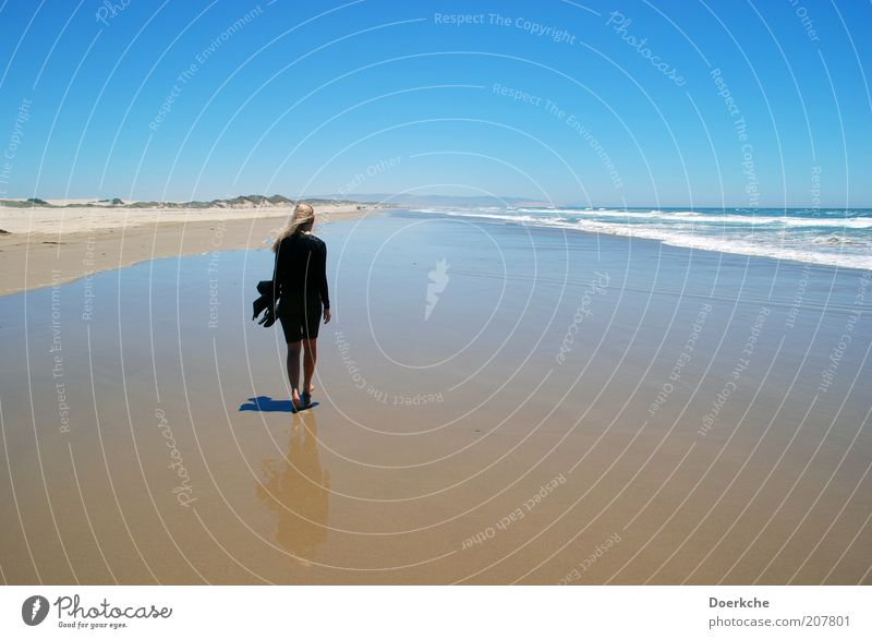Windy Beach Feminine Woman Adults 1 Human being Nature Landscape Sand Water Sky Cloudless sky Horizon Summer Ocean Pacific Ocean Going To enjoy Looking