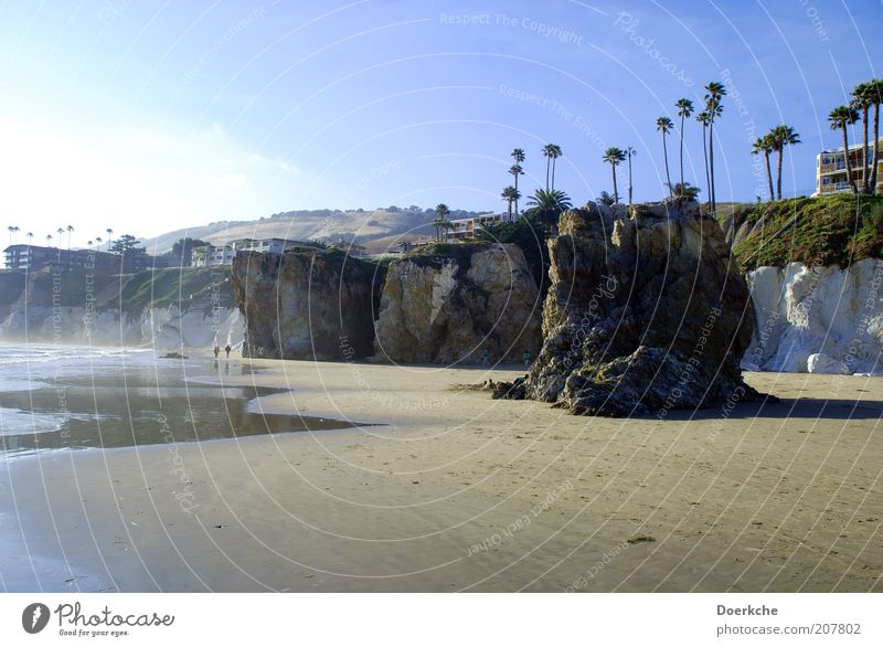Nature Ocean Beach Vacation & Travel Calm Stone Sand Landscape Coast Rock Travel photography Bay Palm tree Beautiful weather Blue sky Pacific Ocean