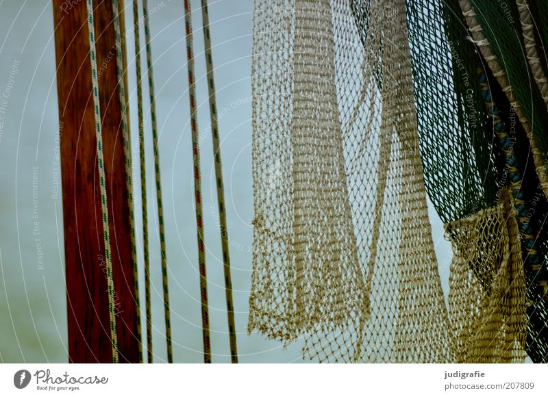 net Fishery Fishing boat Rope Net Hang Moody Mast Fishing net Colour photo Exterior shot Day Detail Section of image
