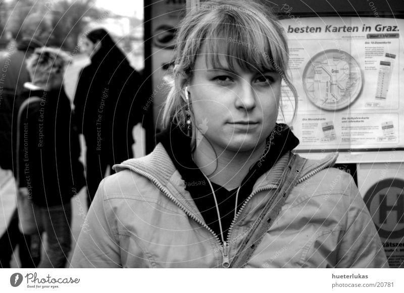 listen to music Portrait photograph Tram MP3 player Music Feminine Blonde Woman Black & white photo Human being Wait