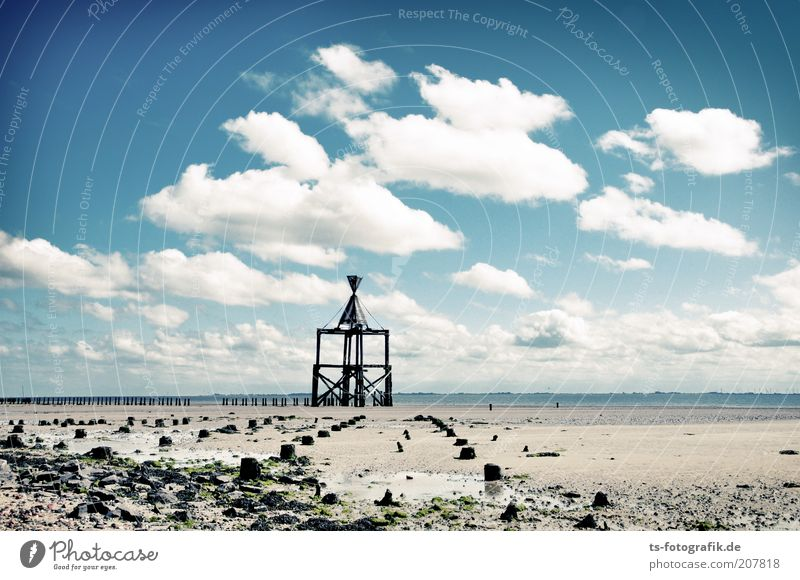 Signs on the horizon Vacation & Travel Tourism Far-off places Freedom Sky Clouds Beautiful weather Coast Beach North Sea Ocean Island Mud flats Wangerooge