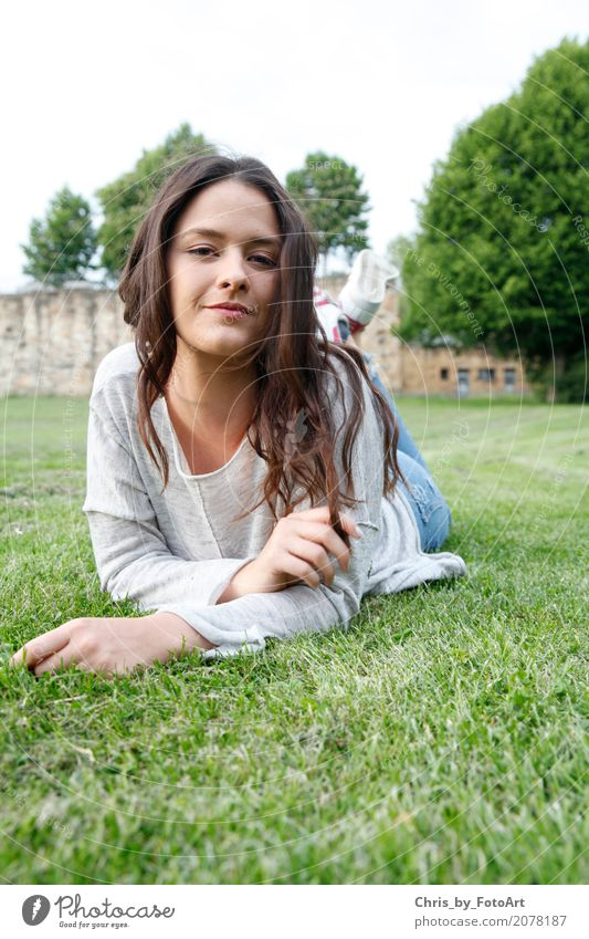 chris_by_photoart Lifestyle Feminine Young woman Youth (Young adults) 1 Human being 18 - 30 years Adults Beautiful weather Park Meadow Esslingen district Castle