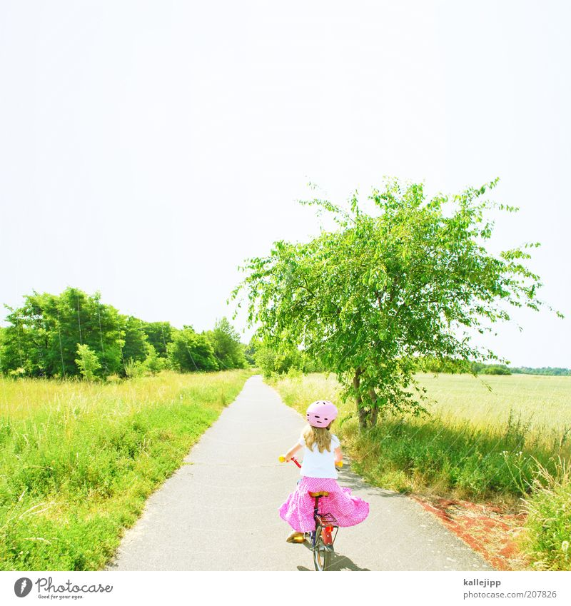 Human being Child Nature Green Tree Plant Girl Vacation & Travel Summer Joy Calm Relaxation Meadow Life Environment Landscape
