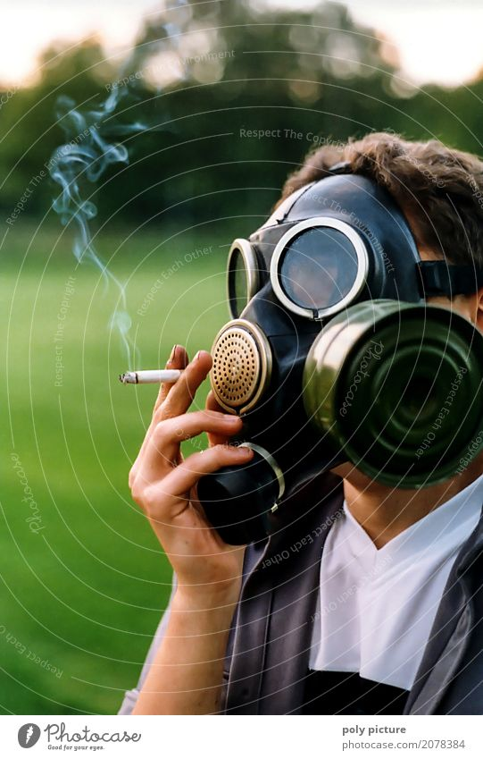 Smoker with gas mask and cigarette Style Health care Smoking Intoxicant Medication Human being Masculine Young man Youth (Young adults) Man Adults Life