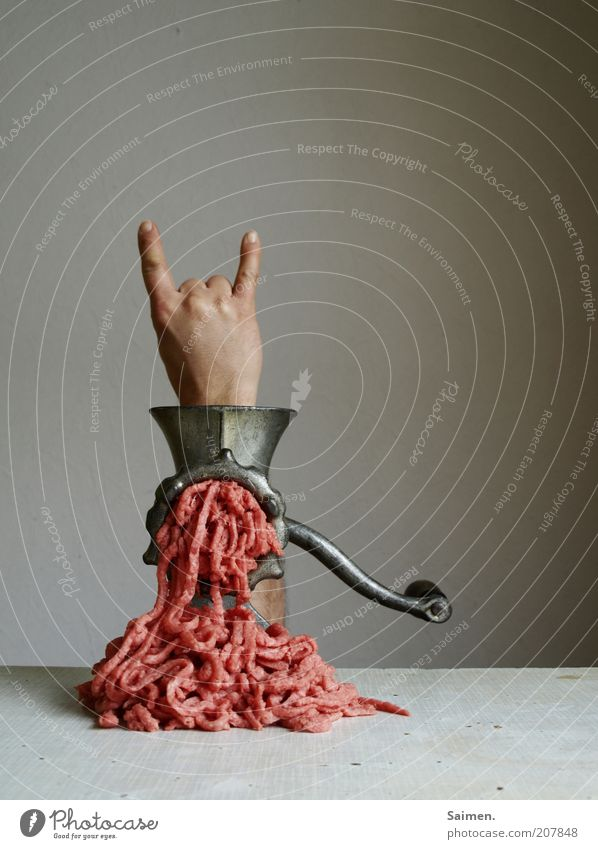 To the bitter end Hand Fingers Exceptional Disgust Trashy Dangerous Bizarre Disaster Revolt Whimsical Surrealism Mincer Minced meat Rock'n'Roll Colour photo