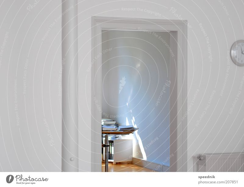 White Office Bright Work and employment Door Flat (apartment) Arrangement Design Modern Esthetic Living or residing Clean Positive Furniture Workplace Vista