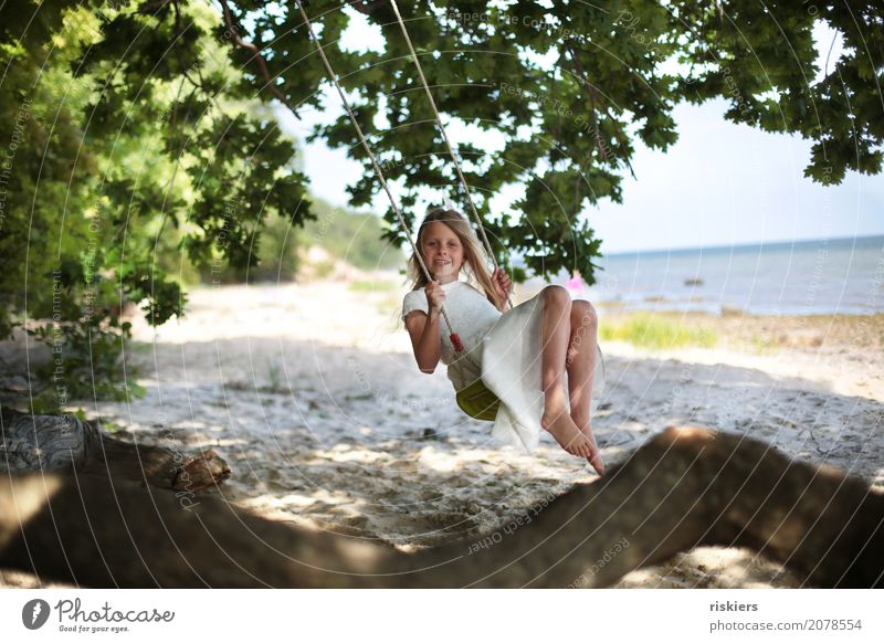 favourite place Human being Feminine Child Girl Infancy 1 Environment Nature Summer Tree Beach Discover Relaxation Smiling Looking To swing Playing Dream