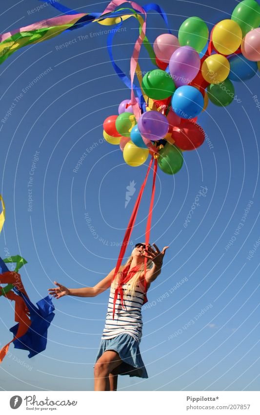 no limit Joy Happy Summer Feminine Youth (Young adults) 18 - 30 years Adults Dance Beautiful weather Balloon Laughter Playing Dream Free Happiness Infinity