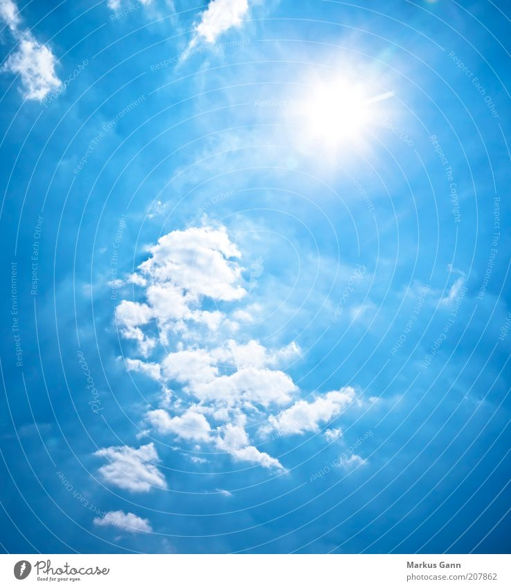 Sky Sun Blue Clouds Air Bright Weather Beautiful weather Blue sky Nature Copy Space Sky only