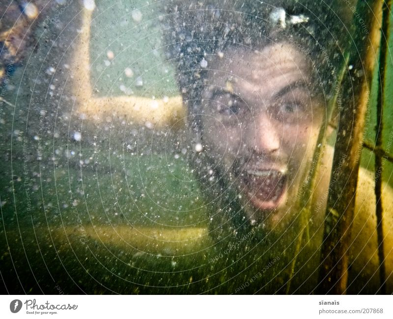 Human being Man Nature Water Joy Adults Masculine Crazy Threat Dive Anger Scream Whimsical Evil Fight Aggression