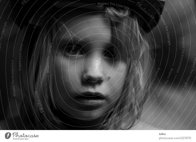 SOPHY THERES Child Face Hat Blonde Looking Dream Sadness Authentic Natural Watchfulness Caution Serene Calm Moody Black & white photo Light Shadow
