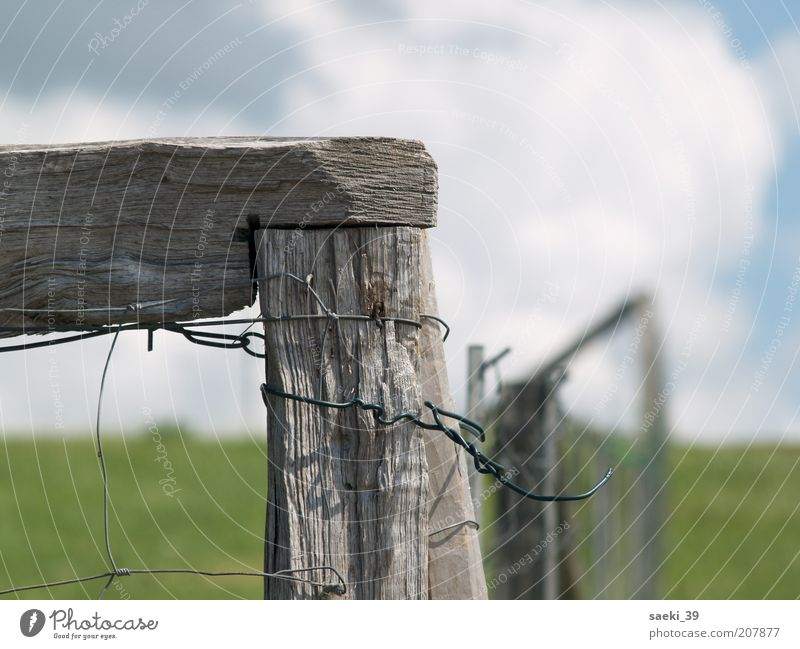 Nature Old Summer Calm Clouds Meadow Landscape Safety Protection Firm Weathered Boundary Wire netting Fence post