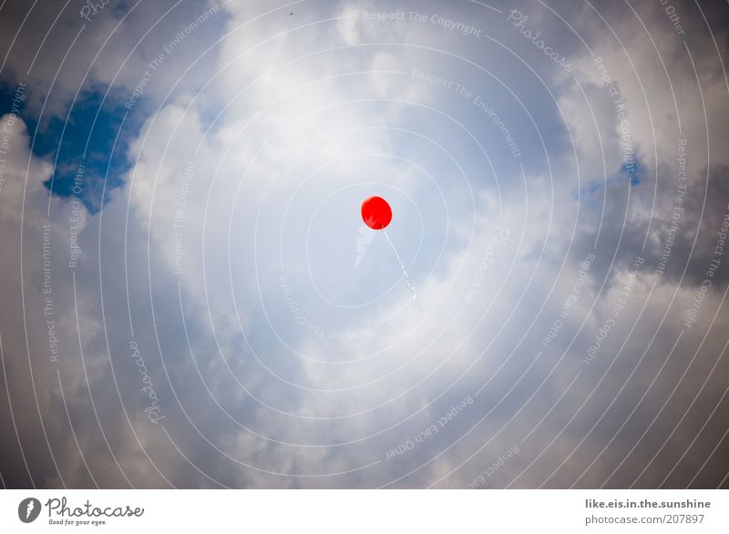 **Make a wish. Sky Clouds Flying Free Blue Red White Perspective Balloon Easy Airy Airmail Copy Space left Copy Space right Copy Space top Copy Space bottom Day