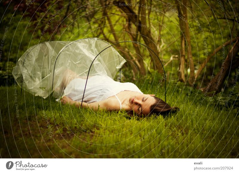 Woman Human being Youth (Young adults) Green White Beautiful Calm Adults Feminine Dream Moody Lie Sleep Protection 18 - 30 years Young woman