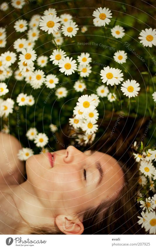 Woman Youth (Young adults) Flower Green Summer Face Calm Yellow Relaxation Feminine Emotions Spring Happy Dream Head Contentment