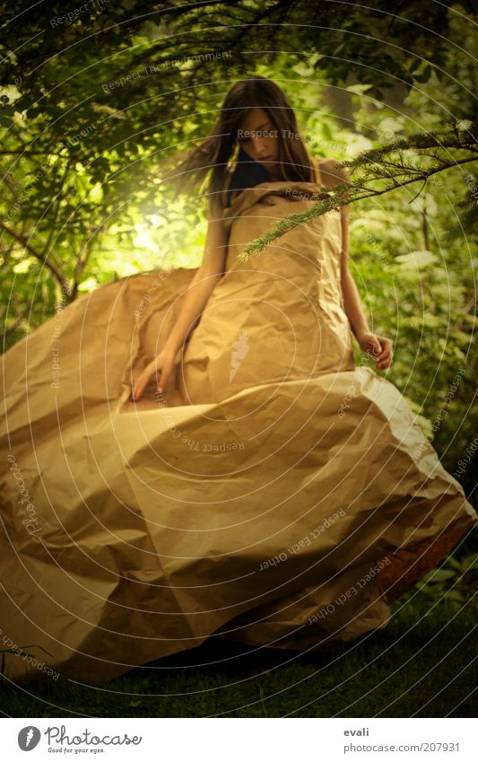 Woman Human being Nature Youth (Young adults) Green Feminine Garden Dream Park Brown Dance Adults Paper Dress Uniqueness Brunette