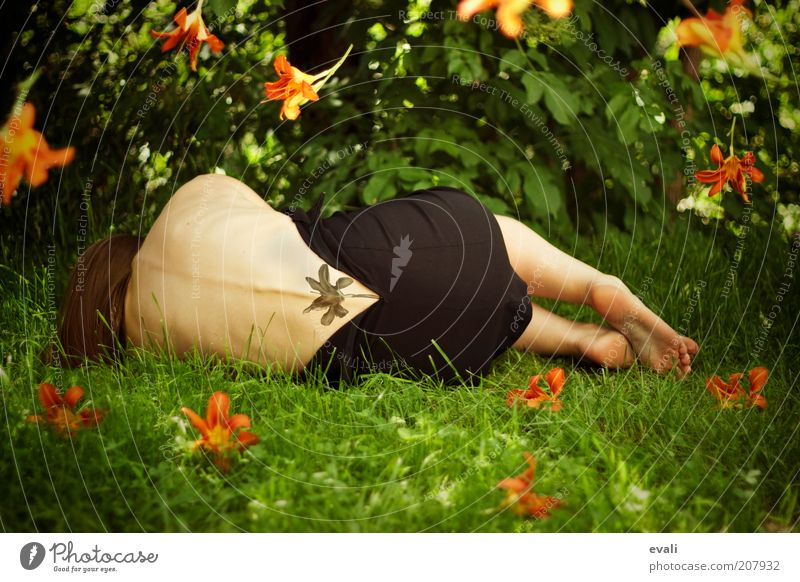 Woman Human being Green Summer Flower Calm Adults Feminine Grass Garden Blossom Dream Park Feet Orange Body