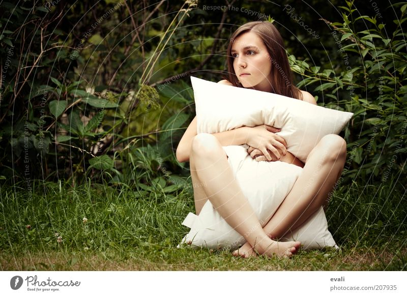 Woman Hand Youth (Young adults) Beautiful White Green Face Naked Feminine Grass Garden Think Legs Contentment Body