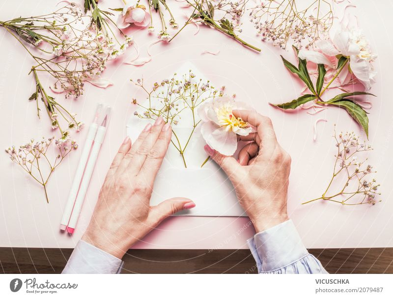 Female hands make beautiful flowers gift Lifestyle Style Design Leisure and hobbies Decoration Feasts & Celebrations Valentine's Day Mother's Day Wedding