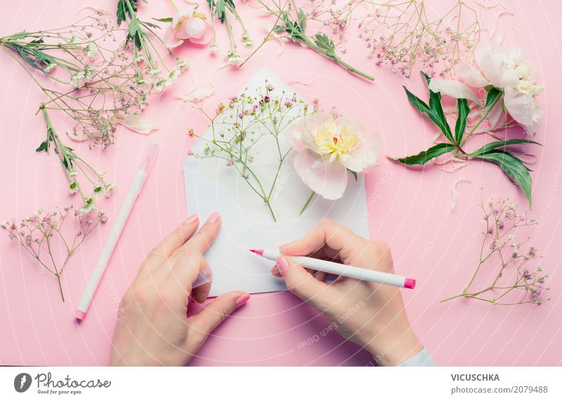 Female hands write greeting card with flowers Lifestyle Style Design Summer Feasts & Celebrations Valentine's Day Mother's Day Wedding Birthday Human being