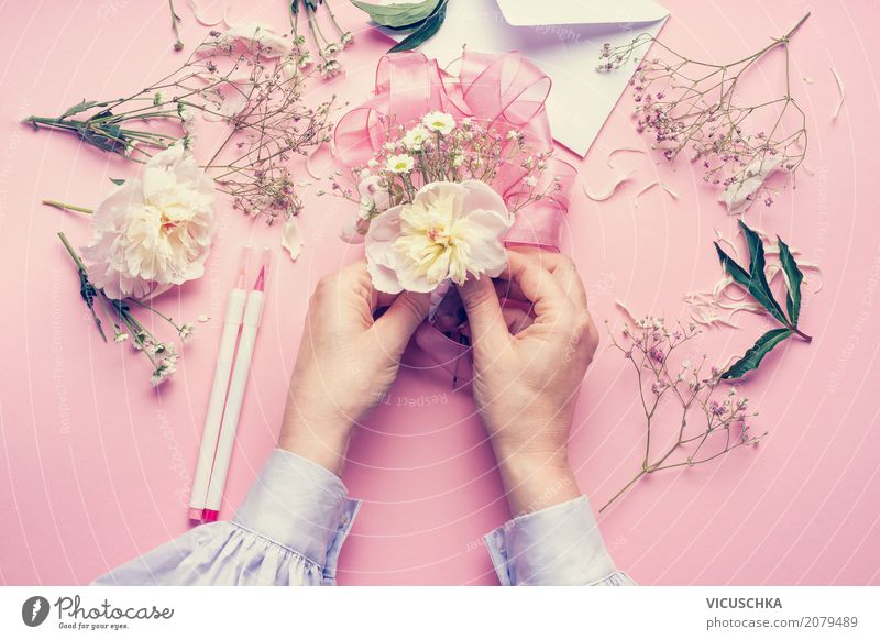 Female hands make beautiful flower decorations Lifestyle Style Design Joy Decoration Feasts & Celebrations Valentine's Day Mother's Day Wedding Birthday